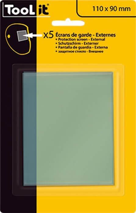 5 Écrans de garde -  Extérieur 110 x 90 mm  pour masque LCD TECHNO 9-13 / EXPERT 11 / MASTER 11