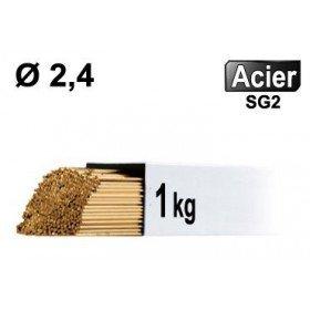 Baguettes métal d'apport TIG - ACIER - Ø 2,4 - Vrac 1kg
