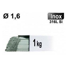 Baguettes métal d'apport TIG - INOX 316L - Ø 1,6 - Vrac 1kg