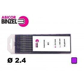 10 électrodes 150 mm, tungstène E3, Ø 2.4 mm - Lila - Binzel -