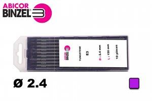 10 électrodes 150 mm, tungstène E3, Ø 2.4 mm - Lila