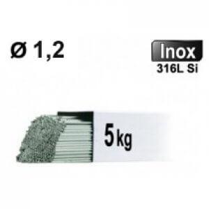 Baguettes métal d'apport TIG - INOX 316L - Ø 1,2 - Etui de 5kg
