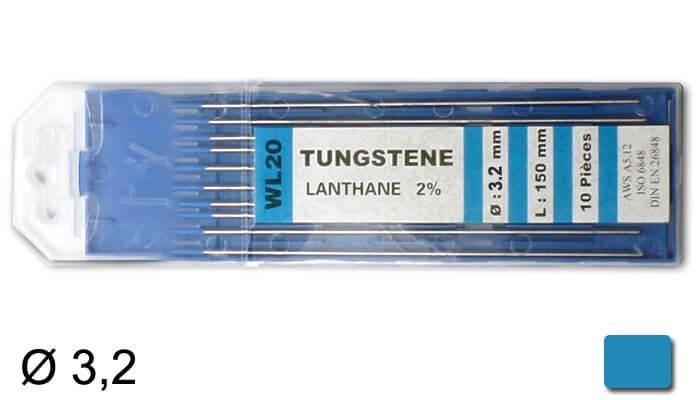 électrodes tungstène WL20, Ø 3.2mm - Turquoise