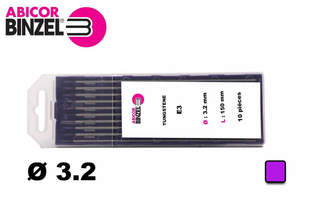 10 électrodes 150 mm, tungstène E3, Ø 3.2 mm - Lila - Binzel -