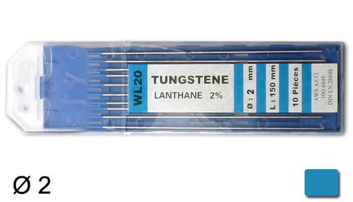 électrodes tungstène WL20, Ø 2 mm - Turquoise