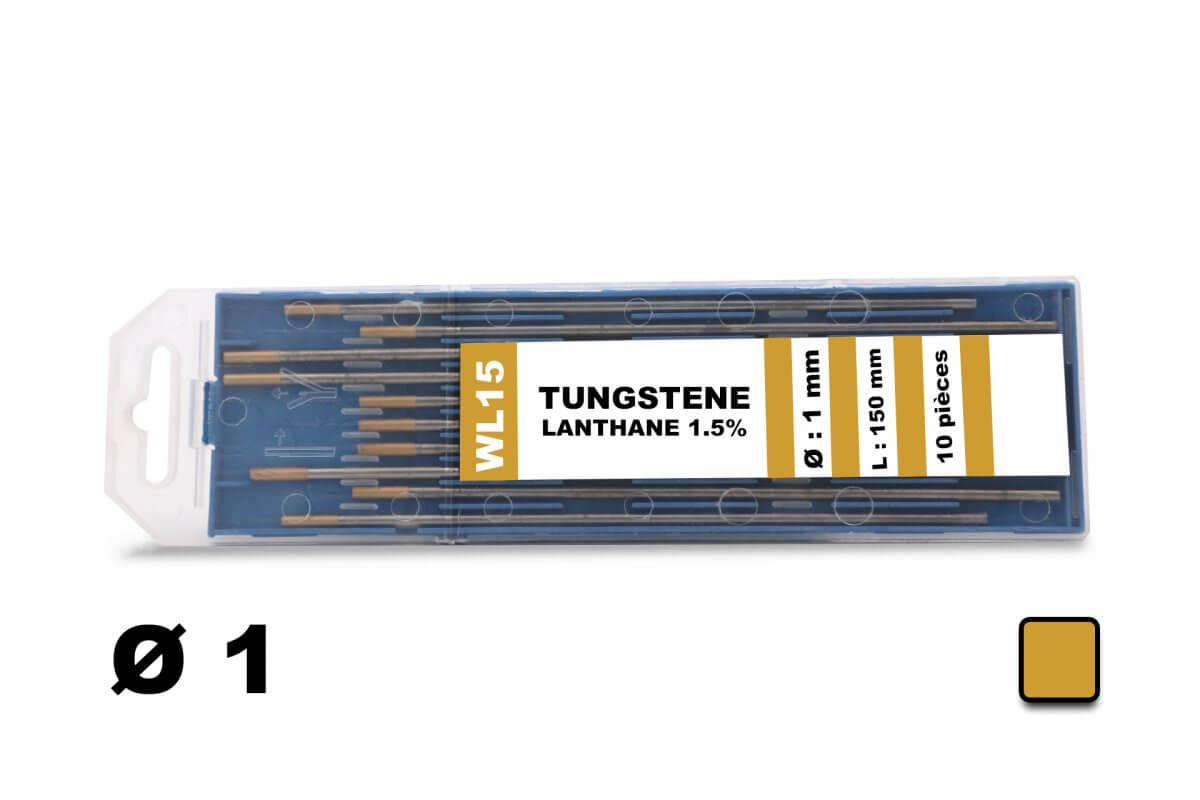 10 électrodes 150 mm, tungstène lanthane, Ø 1 mm - Or
