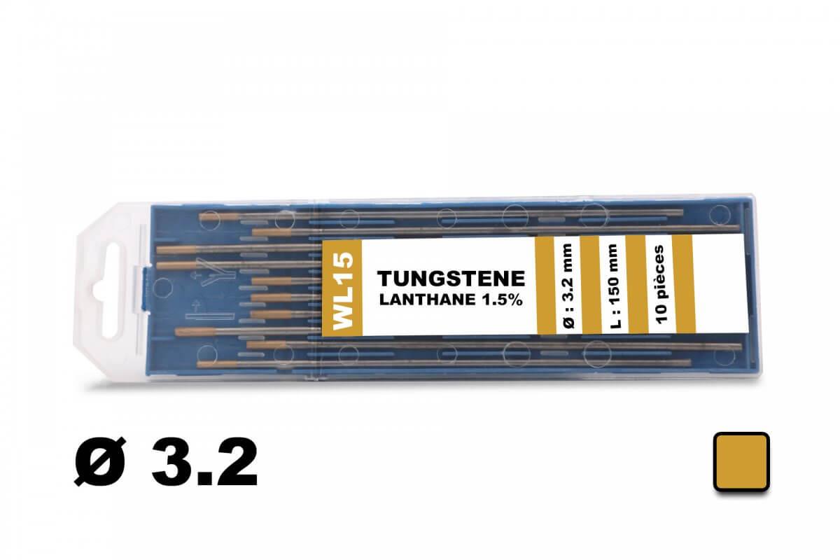10 électrodes 150 mm, tungstène lanthane, Ø 3.2 mm - Or