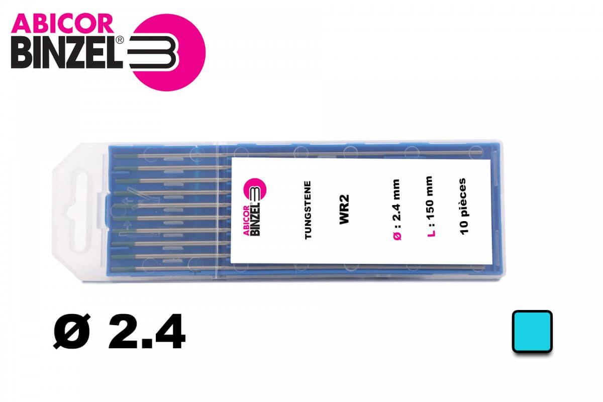 10 électrodes 150 mm, tungstène, Ø 2.4 mm - Turquoise - Binzel -