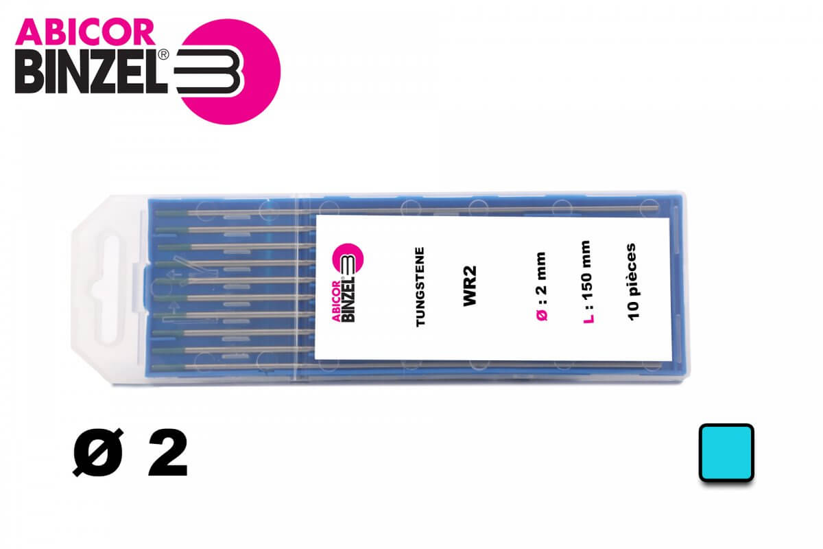 10 électrodes 150 mm, tungstène, Ø 2.0 mm - Turquoise - Binzel -