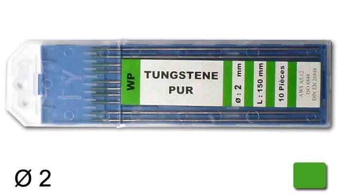 électrodes tungstène pur, Ø 2 mm - Verte