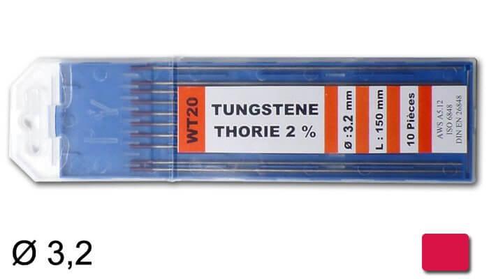 électrodes tungstène thorié, Ø 3,2 mm - Rouge
