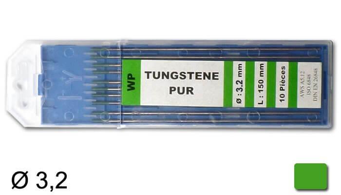 électrodes tungstène pur, Ø 3,2 mm - Verte