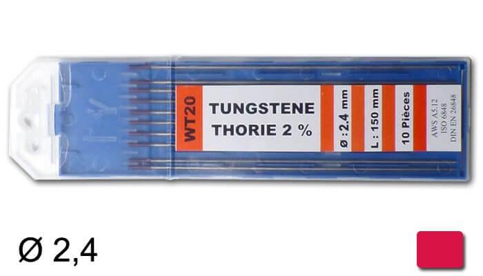 électrodes tungstène thorié, Ø 2,4 mm - Rouge