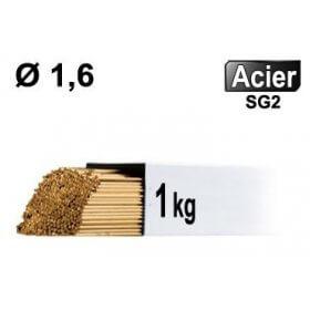 Baguettes métal d'apport TIG - ACIER - Ø 1,6 - Vrac 1kg