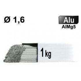 Baguettes métal d'apport TIG - ALU AlMg5 - Ø 1,6 - Vrac 1kg