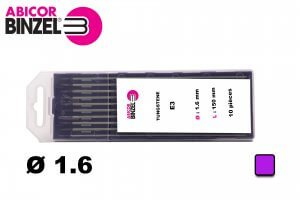 10 électrodes 150 mm, tungstène E3, Ø 1.6 mm - Lila
