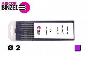 10 électrodes 150 mm, tungstène E3, Ø 2.0 mm - Lila